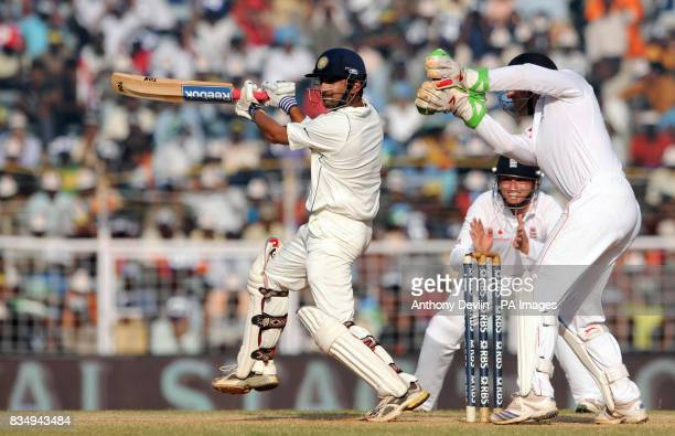 India's Gautam Gambhir bats during the fourth day of the First Test Match at the M A Chidambaram Stadium in Chennai India