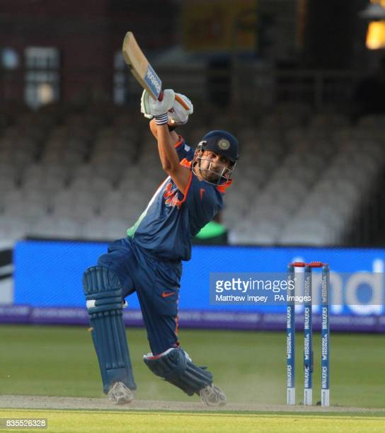 India's Gautam Gambhir bats during the Twenty20 World Cup warm up match at Lord's London