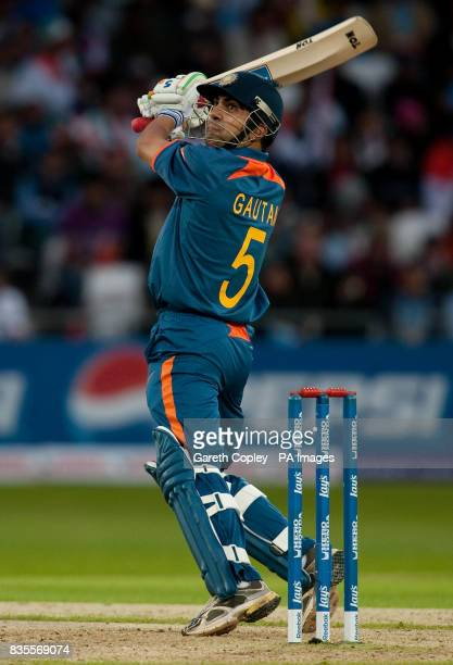 India's Gautam Gambhir hits a six during the ICC World Twenty20 match at Trent Bridge Nottingham