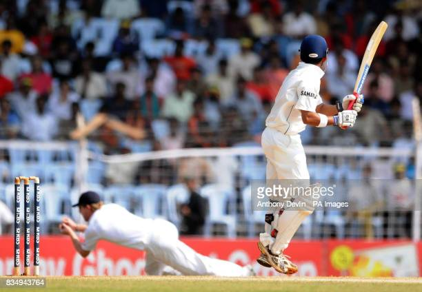 India's Gautam Gambhir is caught by Paul Collingwood off the bowling of James Anderson during the fifth day of the First Test Match at the M A...