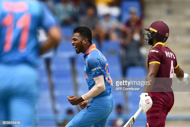 India's Hardik Pandya celebrates dismissing West Indies' Shai Hope during the fourth One Day International match between West Indies and India at the...