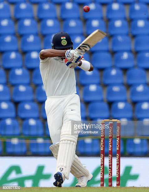 India's Hardik Pandya plays a shot during the second day of the third and final Test match between Sri Lanka and India at the Pallekele International...