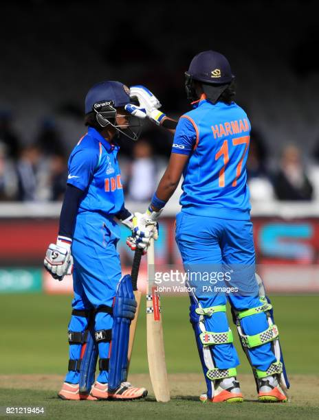 India's Harmanpreet Kaur and Punam Raut during the ICC Women's World Cup Final at Lord's London