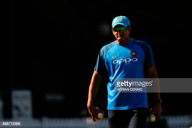 India's head coach Anil Kumble attends a practice session at Lord's Cricket Ground in London on May 26 2017 ahead of the start of the 2017 2017 ICC...