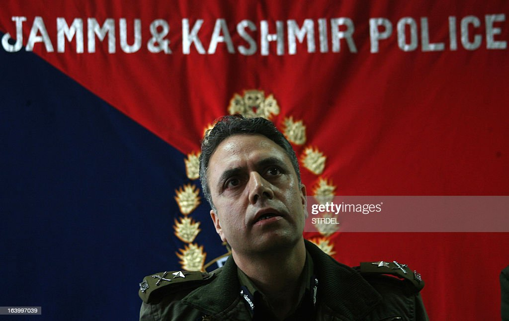 India's Jammu and Kashmir state police chief Abdul Gani Mir addresses a press conference in Srinagar on March 19, 2013. Police in Indian-administered Kashmir on March 19 said they had arrested four people including a Pakistani national from the Lashkar-e-Toiba militant group over an attack that left five policemen dead. Two heavily armed militants attacked a group of Central Reserve Police Force personnel in a compound of a police public school last week, killing five of them and injuring ten others including four civilians.