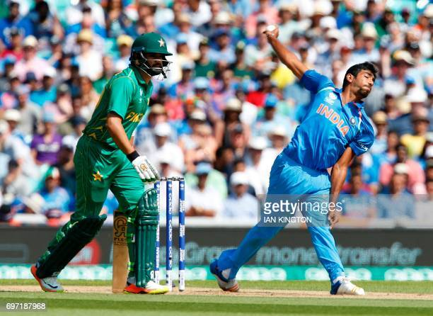 India's Jasprit Bumrah bowls during the ICC Champions Trophy final cricket match between India and Pakistan at The Oval in London on June 18 2017 /...