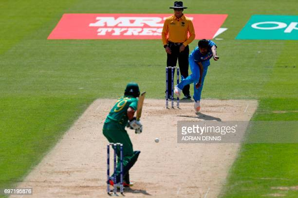 India's Jasprit Bumrah bowls to Pakistan's Azhar Ali during the ICC Champions Trophy final cricket match between India and Pakistan at The Oval in...