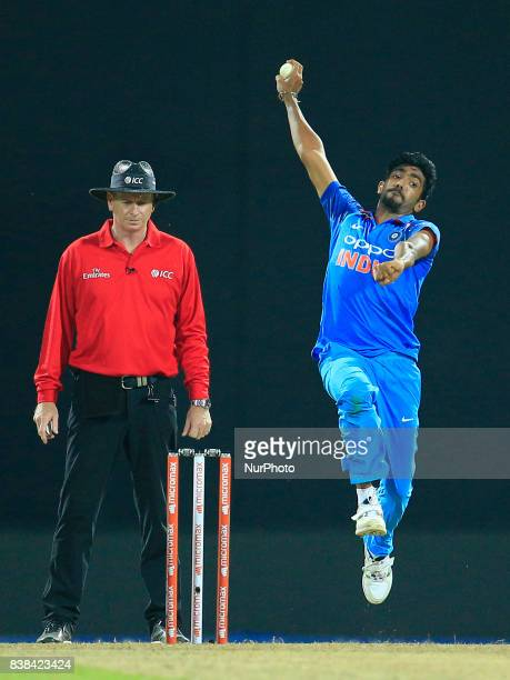 India's Jasprit Bumrah delivers a ball during the 2nd One Day International cricket match between Sri Lanka and India at the Pallekele international...