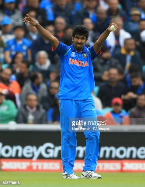 India's Jasprit Bumrah during the ICC Champions Trophy Group B match at The Oval London