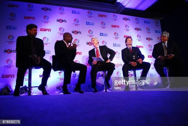 India's Kapil Dev West Indies' Vivian Richards ESPN STAR Sports presenter Alan Wilkins Pakistan's Imran Khan and Sri Lanka's Arjuna Ranatunga all...