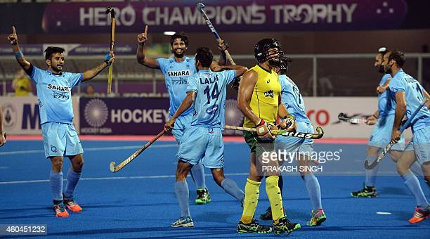India's Lalit Upadhyay celebrates a goal against Australia during their Hero Hockey Champions Trophy 2014 match for 3rd 4th position at Kalinga...