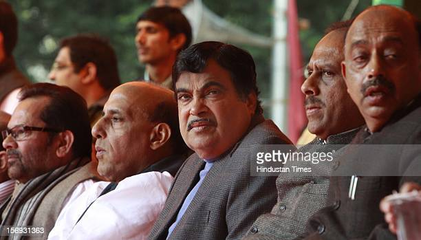 India's main opposition Bharatiya Janata Party President Nitin Gadkari and BJP senior leader and former BJP president Rajnath Singh Mukhtar Abbas...