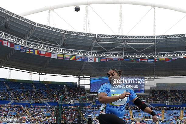India's Manpreet Kaur competes in the Women's Shot Put Qualifying Round during the athletics event at the Rio 2016 Olympic Games at the Olympic...