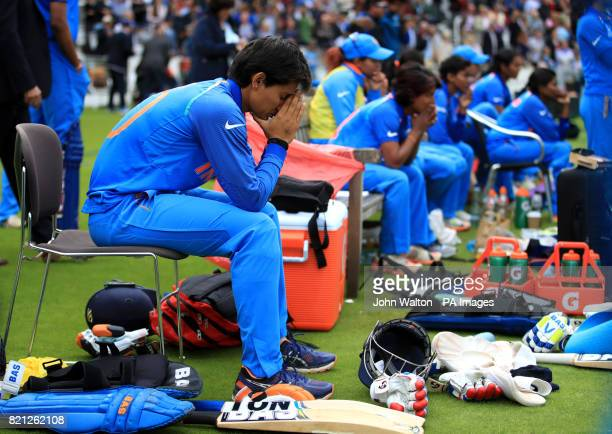India's Mansi Joshi appears dejected after India lost the game during the ICC Women's World Cup Final at Lord's London