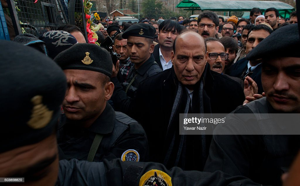 India's Minister of Home Affairs Rajnath Singh attends the funeral of pro Indian Jammu and Kashmir Chief Minister Mufti Mohammad Sayeed during his funeral, on January 07, 2016 in Srinagar, the summer capital of Indian-controlled Kashmir, India. Mufti Mohammad Sayeed, a pro Indian politician of Indian administered Kashmir, served twice as the Chief Minister of strife torn Jammu and Kashmir; for three years from November 2002 till November 2005 and then again from March 2015 until his death in January 2016. Mufti died on Thursday morning at the All India Institute of Medical Sciences in Delhi, where he remained admitted for 14 days. His daughter Mehbooba Mufti is set to take over as Chief Minister . Sayeed was also Home Minister of Indian government from December 1989 to November 1990. He founded the Jammu and Kashmir People's Democratic Party, in July 1999. He died on 7 January 2016 at , Delhi due to multiple organ failure.