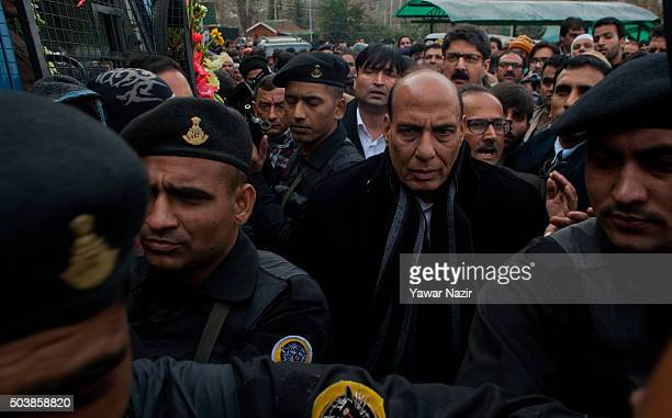 India's Minister of Home Affairs Rajnath Singh attends the funeral of pro Indian Jammu and Kashmir Chief Minister Mufti Mohammad Sayeed during his...