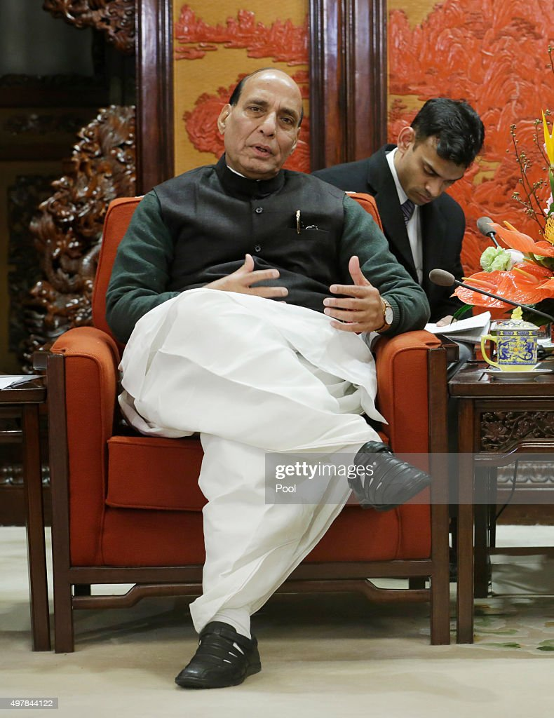 India's Minister of Home Affairs <a gi-track='captionPersonalityLinkClicked' href=/galleries/search?phrase=Rajnath+Singh&family=editorial&specificpeople=582959 ng-click='$event.stopPropagation()'>Rajnath Singh</a> (L) speaks during a meeting with China's Premier Li Keqiang (not seen) at the Zhongnanhai Leadership Compound on November 19, 2015 in Beijing, China.