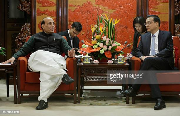 India's Minister of Home Affairs Rajnath Singh speaks during a meeting with China's Premier Li Keqiang at the Zhongnanhai Leadership Compound on...