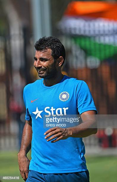 India's Mohammed Shami attends a final training session ahead of the 2015 Cricket World Cup Pool B match between the West Indies and India in Perth...