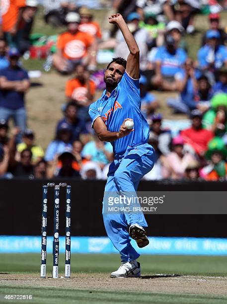 India's Mohammed Shami bowls during the Pool B Cricket World Cup match between India and Ireland at Sedden Park in Hamilton on March 10 2015 AFP...