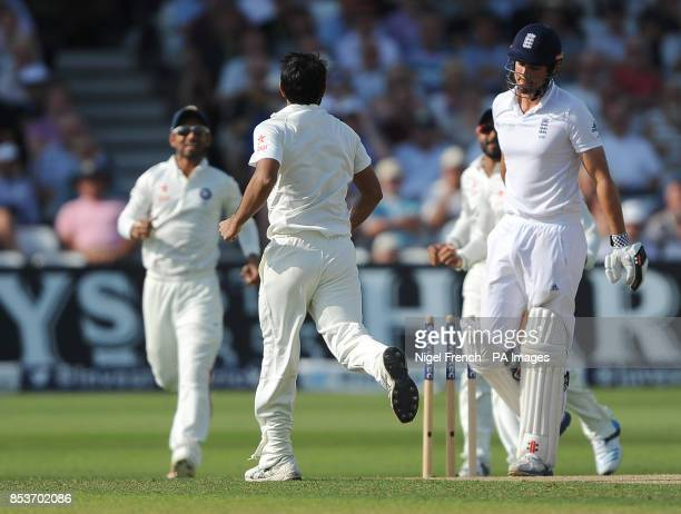 India's Mohammed Shami celebrates after taking the wicket of England's Alastair Cook during day two of the first Investec test match at Trent Bridge...