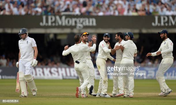 India's Mohammed Shami celebrates taking the wicket of England's Gary Ballance for 27 during day four of the second test at Lord's Cricket Ground...