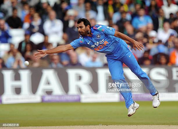 India's Mohammed Shami fails to catch and bowl England's Alex Hales during the third oneday international cricket match between England and India at...