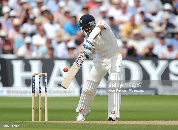 India's Mohammed Shami in batting action against England during day two of the first Investec test match at Trent Bridge Nottingham