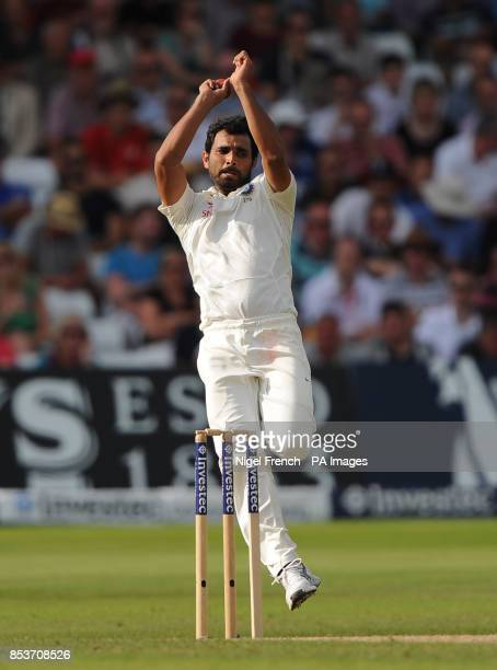 India's Mohammed Shami in bowling action against England during day three of the first Investec test match at Trent Bridge Nottingham