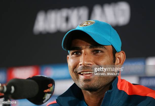 India's Mohammed Shami speaks to the media prior to training ahead of their 2015 Cricket World Cup Group B match against Zimbabwe in Auckland on...
