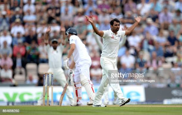 India's Mohammed Shami unsuccessfully appeals for the wicket of England's Gary Ballance during day two of the Third Investec Test match at the Ageas...