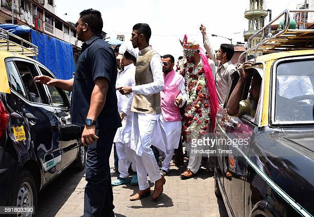 India's most wanted criminal Dawood Ibrahim's nephew Alishah Parkar leaves after nikah at Rasool Masjid in Nagpada on August 17 2016 in Mumbai India...
