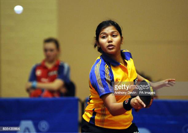 India's Mouma Das in action during India's Table Tennis Tour at Dormers Wells Leisure Centre in Southall London