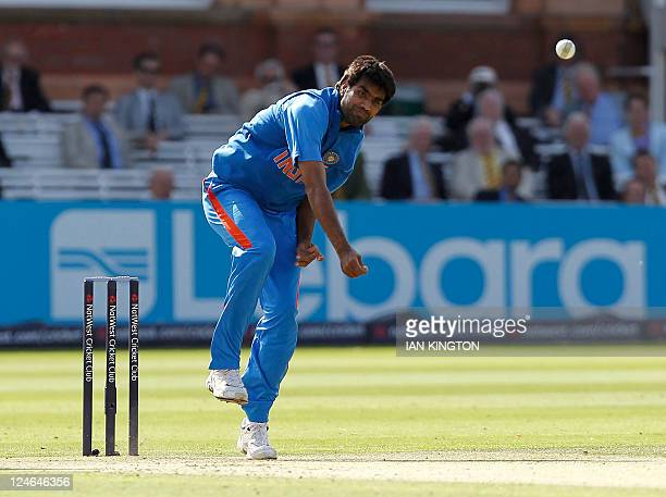 India's Munaf Patel delivers a ball during the fourth One Day International cricket match between England and India at Lord's cricket ground in...