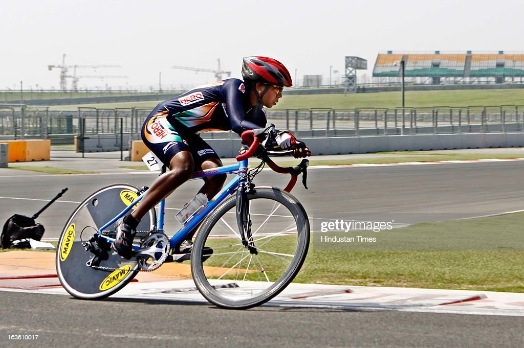 India's N Geeturaj at the track for the Individual Time Trial- Women Junior final during the Asian Cycling Championship Road Race at the Buddh International Circuit on March 13, 2013 at Greater Noida, India.