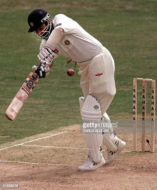 India's Navjot Singh Sidhu hits the ball at the Sahara Cup Cricket tournament in Toronto Canada 13 September Sidhu made 24 runs before being bowled...