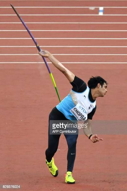 India's Neeraj Chopra competes in the men's javelin throw athletics event at the 2017 IAAF World Championships at the London Stadium in London on...
