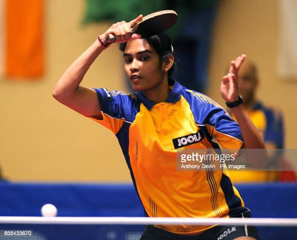 India's Neha Aggarwal in action during India's Table Tennis Tour at Dormers Wells Leisure Centre in Southall London