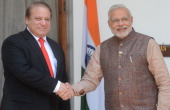 India's new Prime Minister Narendra Modi shakes hands with Pakistani Prime Minister Nawaz Sharif during a meeting in New Delhi on May 27 2014 Indian...