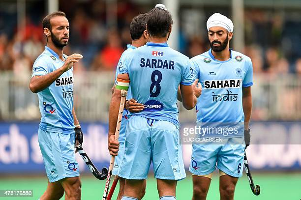 India's players celebrate after scoring during during the Group A men's group stage match between India and Poland at the Hockey World League...