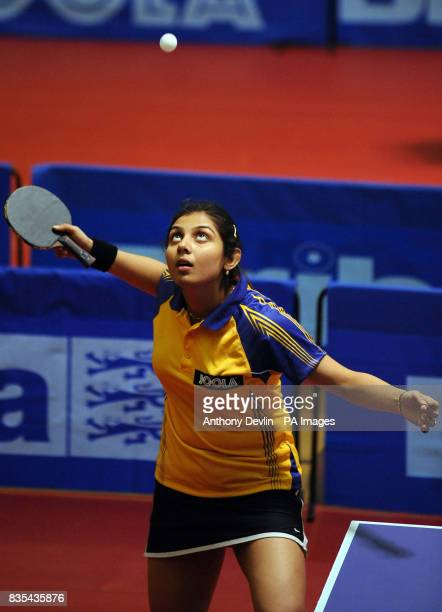 India's Poulomi Ghatak serves during India's Table Tennis Tour at Dormers Wells Leisure Centre in Southall London