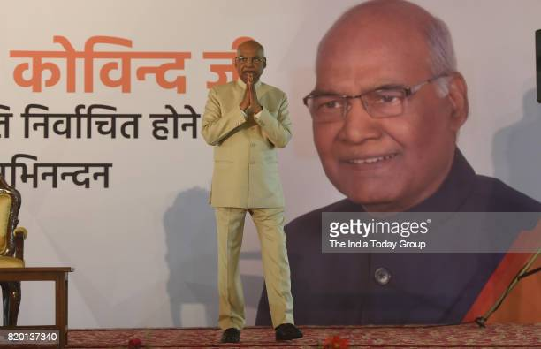 India's President elect Ram Nath Kovind greets people during a ceremony after his election in New Delhi