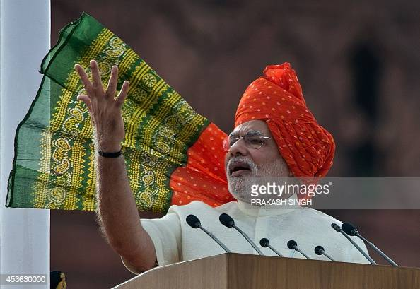 India's Prime Minister Narendra Modi delivers a speech from the Red Fort to mark the country's 68th Independence Day in New Delhi on August 15 2014...