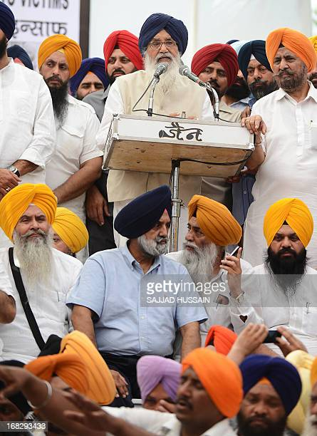 India's Punjab state Chief Minister Prakash Singh Badal speaks during a protest organised by Shiromani Akali Dal against the acquittal of Congress...