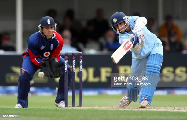 India's Rahul Dravid attacks a ball off England's Monty Panesar during the Third NatWest One Day International at Edgbaston Birmingham See PA story...