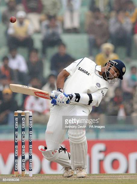 India's Rahul Dravid avoids a bouncer from Andrew Flintoff during the second day of the second test at the Punjab Cricket Association Stadium Mohali...