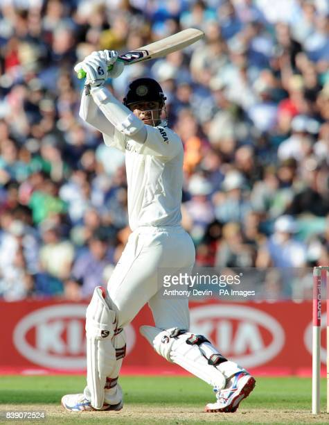 India's Rahul Dravid bats during the npower Fourth Test at The Kia Oval London