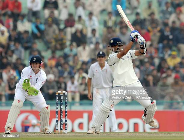 India's Rahul Dravid bats during the second day of the second test at the Punjab Cricket Association Stadium Mohali India