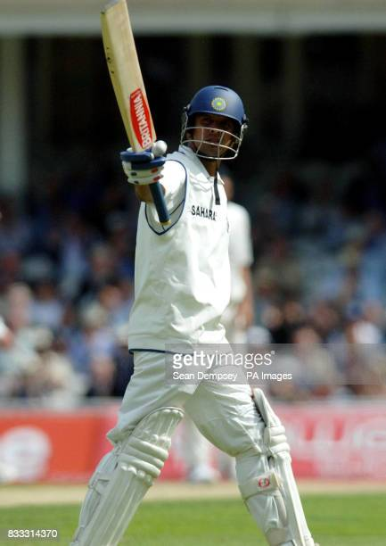 India's Rahul Dravid celebrates his half century during the first day of theThird npower Test match at The Brit Oval Kennington London