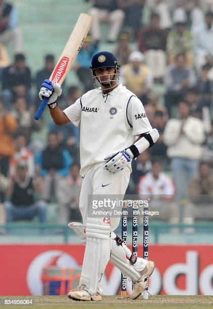 India's Rahul Dravid celebrates scoring his century during the second day of the second test at the Punjab Cricket Association Stadium Mohali India